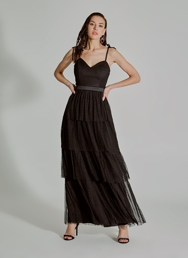 People By Fabrika Katlı Tül Abiye Elbise Siyah